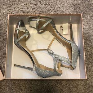 Badgley Mischka Silver Sparkle Heels